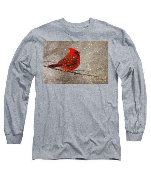 Cardinal In Snow Long Sleeve T-Shirt by Lois Bryan