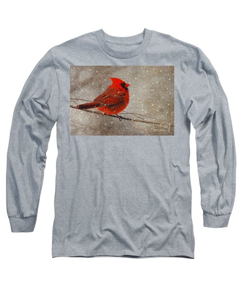 Cardinal In Snow Long Sleeve T-Shirt
