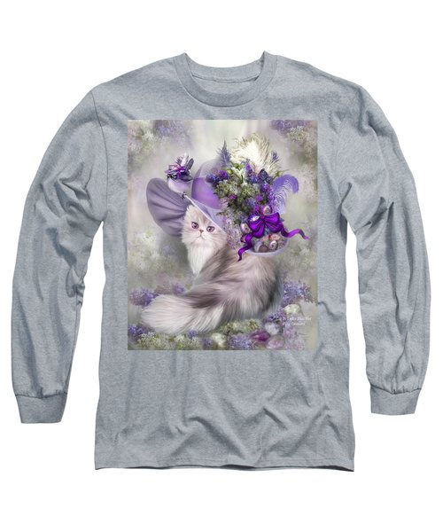 Long Sleeve T-Shirt featuring the mixed media Cat In Easter Lilac Hat by Carol Cavalaris