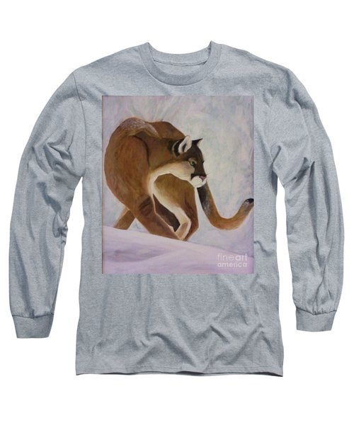 Cat In Snow Long Sleeve T-Shirt by Christy Saunders Church