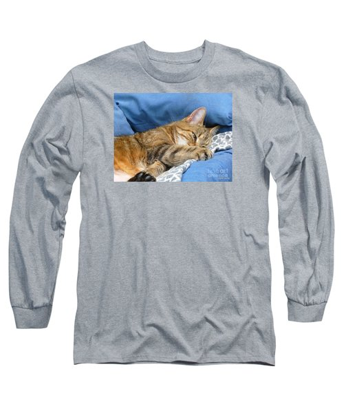 Long Sleeve T-Shirt featuring the photograph Cat Nap by Lingfai Leung