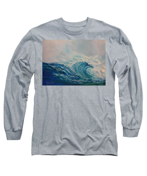 Long Sleeve T-Shirt featuring the painting Wave 111 by Jenny Lee