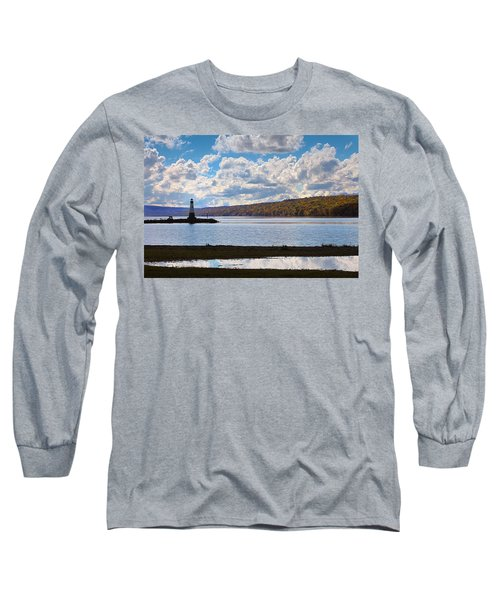 Long Sleeve T-Shirt featuring the photograph Cayuga Lake In Colorful Fall Ithaca New York IIi by Paul Ge