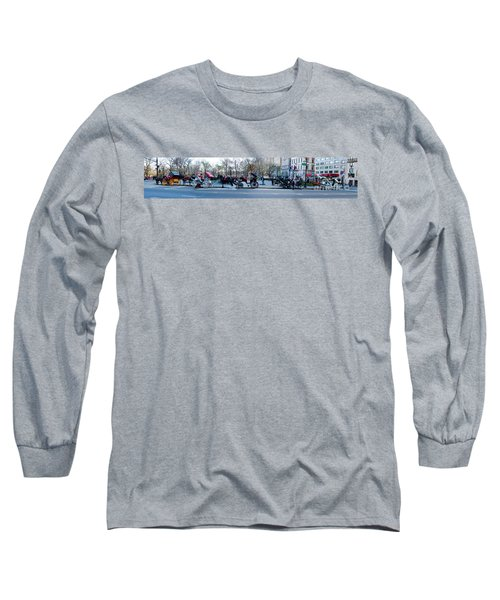 Central Park Horse Carriage Station Panorama Long Sleeve T-Shirt