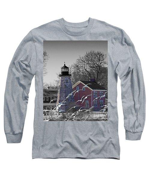 The Charlotte Genesee Lighthouse Long Sleeve T-Shirt by Richard Engelbrecht