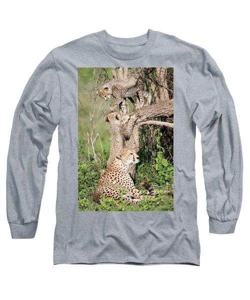 Cheetah Cubs Acinonyx Jubatus Long Sleeve T-Shirt