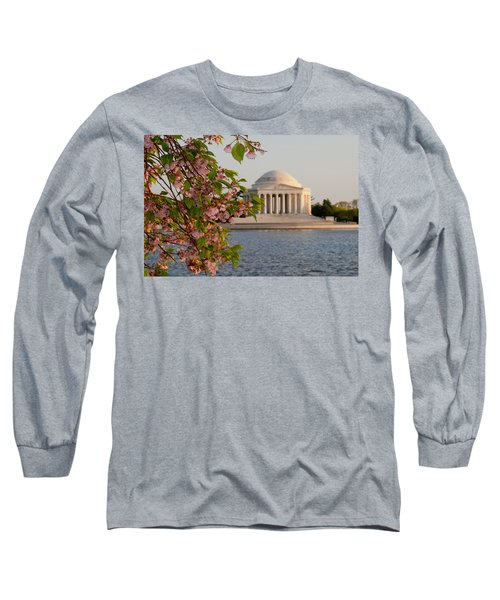 Long Sleeve T-Shirt featuring the photograph Cherry Blossoms And The Jefferson Memorial 3 by Mitchell R Grosky