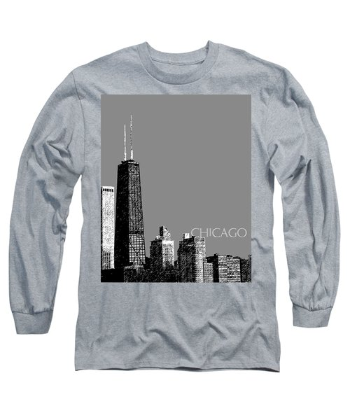 Chicago Hancock Building - Pewter Long Sleeve T-Shirt