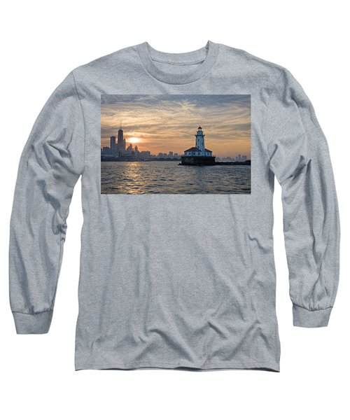 Chicago Lighthouse And Skyline Long Sleeve T-Shirt