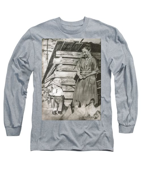 Chicken Coop - Woman And Son - Feeding Chickens Long Sleeve T-Shirt