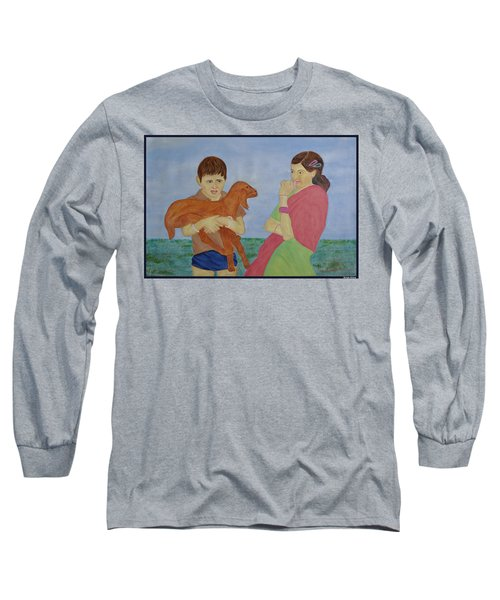 Long Sleeve T-Shirt featuring the painting Children In Indian Village by Bliss Of Art