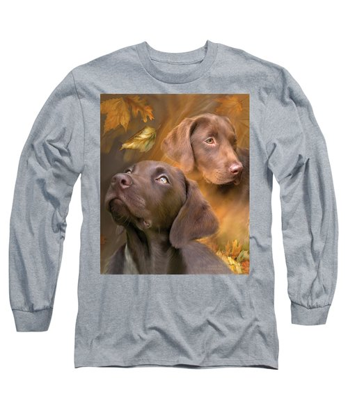 Long Sleeve T-Shirt featuring the mixed media Chocolate Lab by Carol Cavalaris