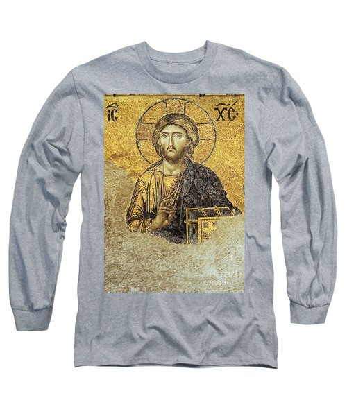 Christ Pantocrator-detail Of Deesis Mosaic Hagia Sophia-judgement Day Long Sleeve T-Shirt