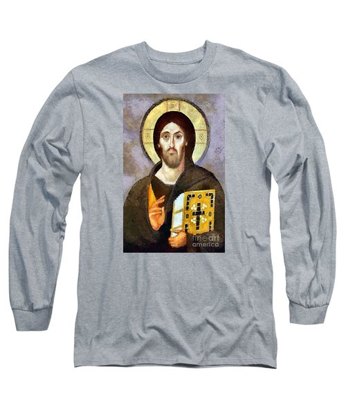 Long Sleeve T-Shirt featuring the mixed media Christ Pantocrator Of Sinai by Dragica  Micki Fortuna