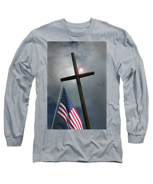 Christian Cross And Us Flag Long Sleeve T-Shirt
