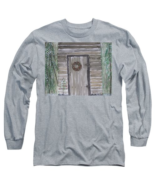 Christmas Card No.3 Rustic Cabin Long Sleeve T-Shirt