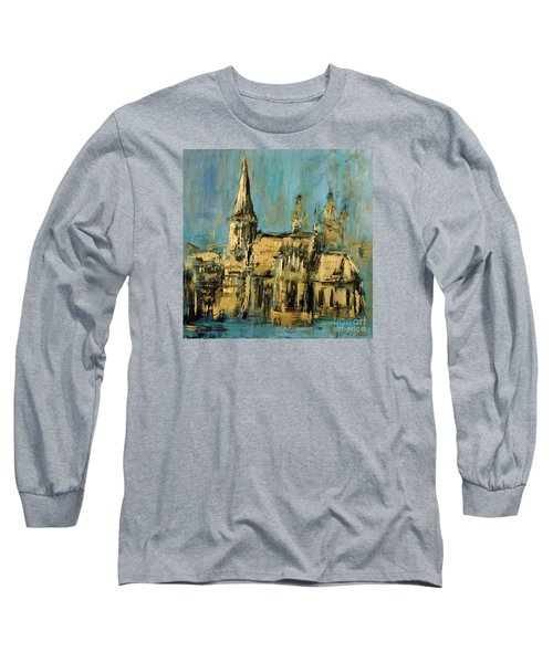 Long Sleeve T-Shirt featuring the painting Church by Arturas Slapsys