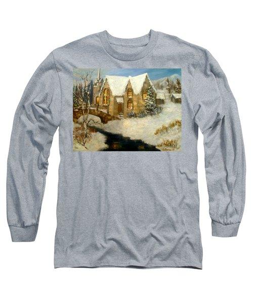 Church Snow Paintings Long Sleeve T-Shirt