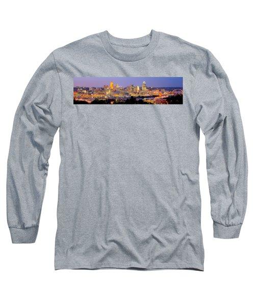 Cincinnati Skyline At Dusk Sunset Color Panorama Ohio Long Sleeve T-Shirt