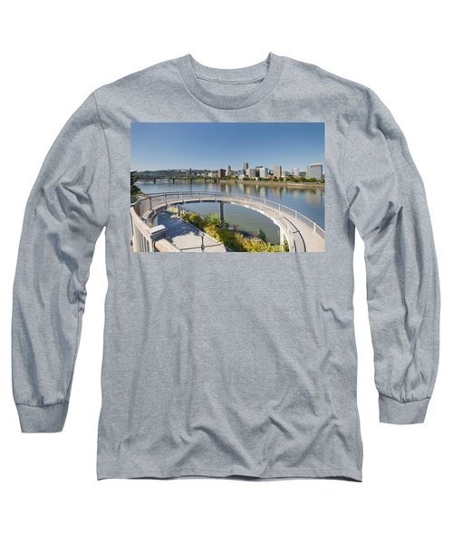 Long Sleeve T-Shirt featuring the photograph Circular Walkway On Portland Eastbank Esplanade by JPLDesigns