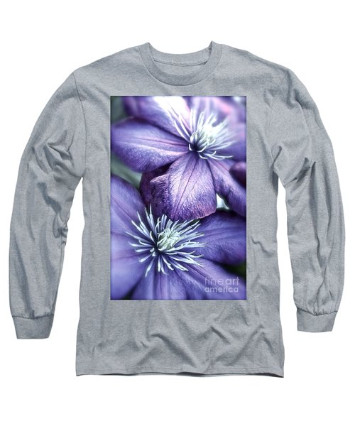 Clematis Long Sleeve T-Shirt by Linda Bianic