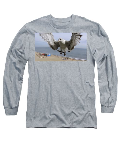 Closeup Of Hovering Seagull Long Sleeve T-Shirt by Richard Rosenshein
