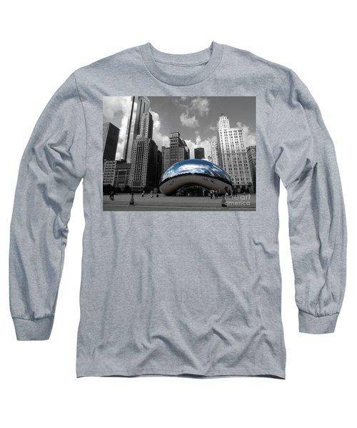 Cloud Gate B-w Chicago Long Sleeve T-Shirt by David Bearden