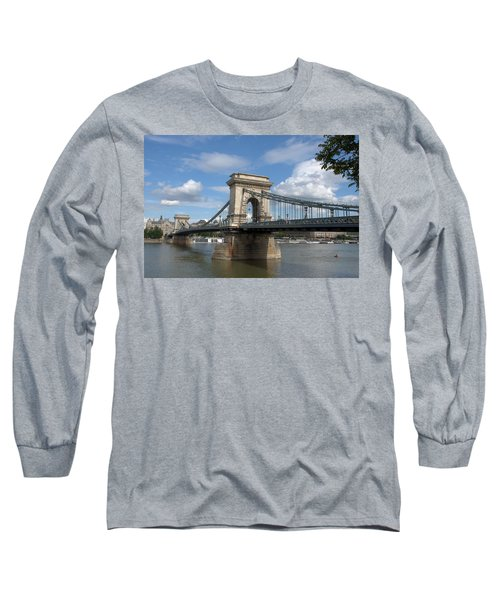 Long Sleeve T-Shirt featuring the photograph Clouds Sky Water And Bridge by Caroline Stella