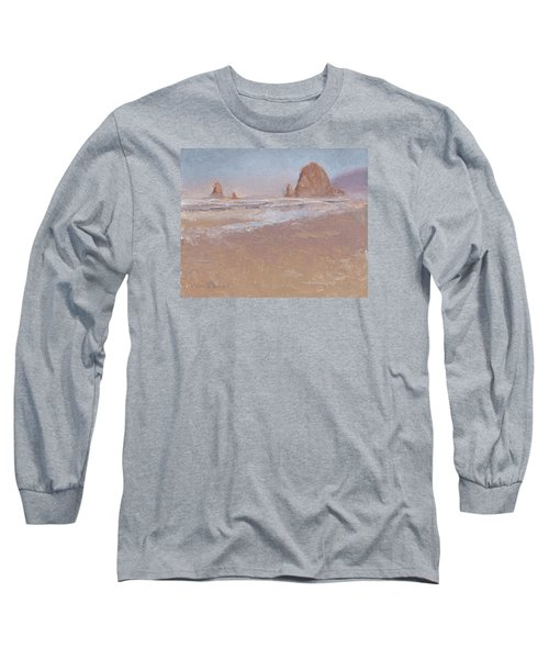 Coastal Escape  Cannon Beach Oregon And Haystack Rock  Long Sleeve T-Shirt by Karen Whitworth