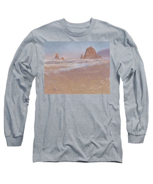 Coastal Escape  Cannon Beach Oregon And Haystack Rock  Long Sleeve T-Shirt