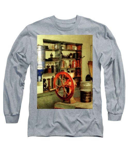 Long Sleeve T-Shirt featuring the photograph Coffee Grinder And Canister Of Sugar by Susan Savad