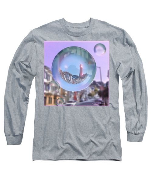 Coit Tower In A Bubble And Purple Sky Long Sleeve T-Shirt