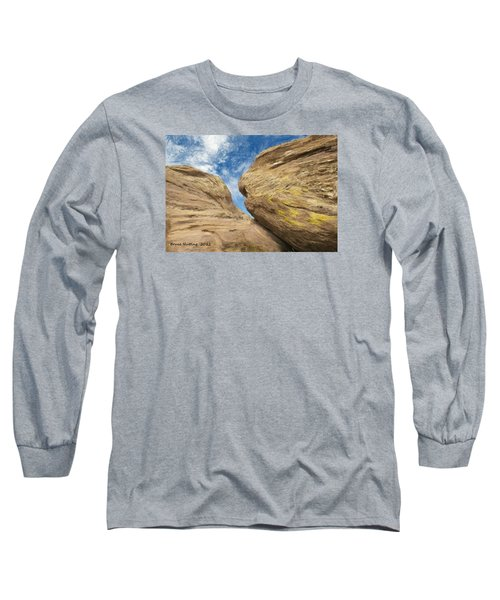 Long Sleeve T-Shirt featuring the painting Colby's Cliff by Bruce Nutting