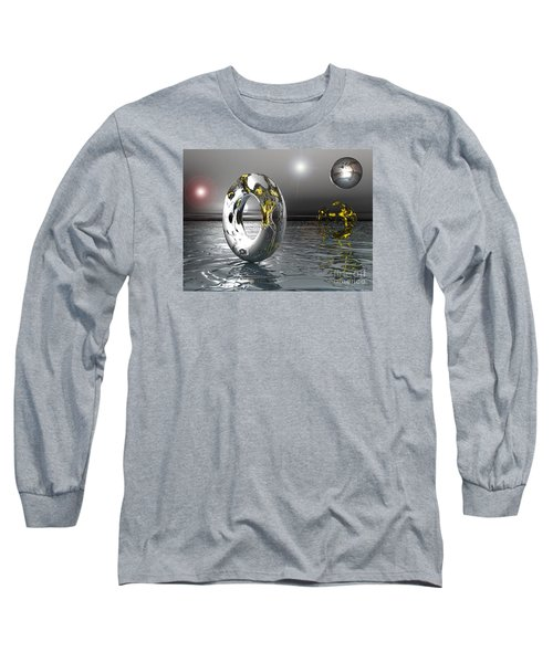 Long Sleeve T-Shirt featuring the digital art Cold Steele by Jacqueline Lloyd
