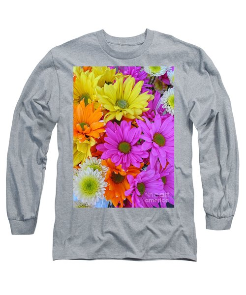 Long Sleeve T-Shirt featuring the photograph Colorful Daisies by Sami Martin