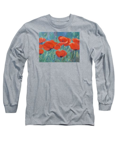 Colorful Flowers Red Poppies Beautiful Floral Art Long Sleeve T-Shirt by Elizabeth Sawyer