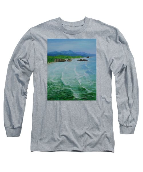 Colorful Seascape Oregon Cannon Beach Ecola Landscape Art Painting Long Sleeve T-Shirt