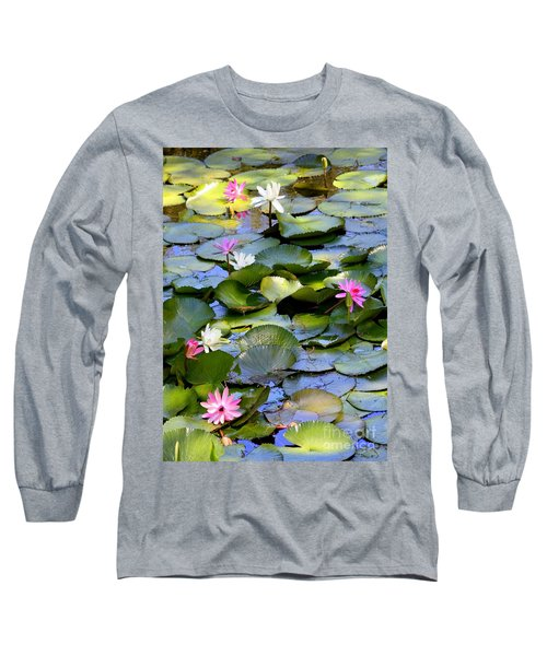 Colorful Water Lily Pond Long Sleeve T-Shirt