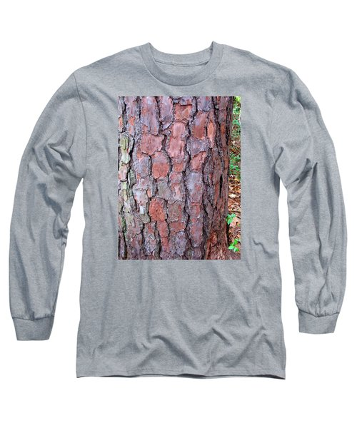 Long Sleeve T-Shirt featuring the photograph Colors And Patterns Of Pine Bark by Connie Fox
