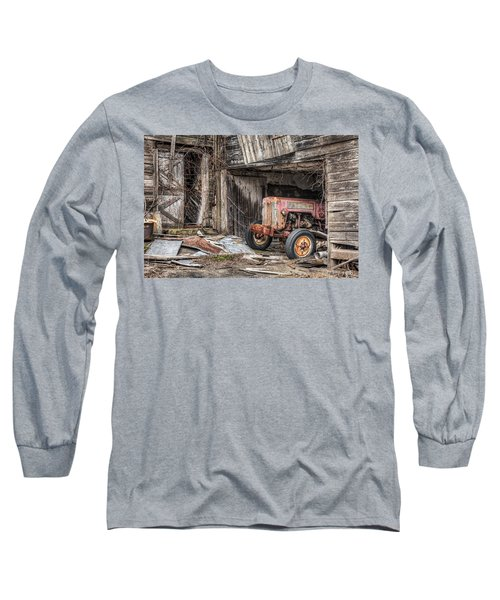 Long Sleeve T-Shirt featuring the photograph Comfortable Chaos - Old Tractor At Rest - Agricultural Machinary - Old Barn by Gary Heller