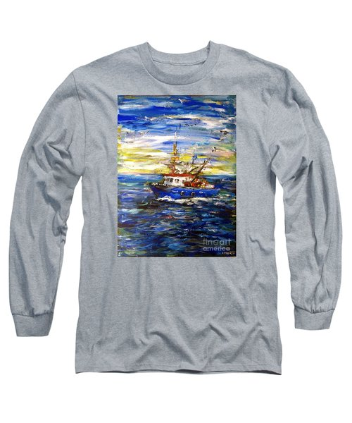 Long Sleeve T-Shirt featuring the painting Coming Back by Arturas Slapsys