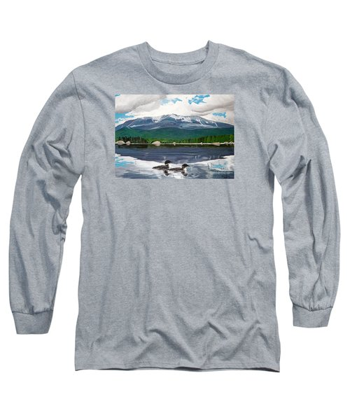 Common Loon On Togue Pond By Mount Katahdin Long Sleeve T-Shirt