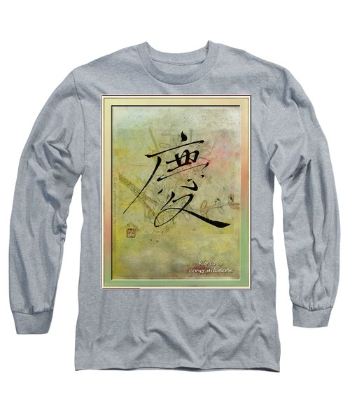 Long Sleeve T-Shirt featuring the mixed media Congratulations - Oriental Brush Calligraphy by Peter v Quenter
