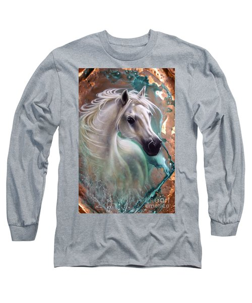 Copper Grace - Horse Long Sleeve T-Shirt by Sandi Baker