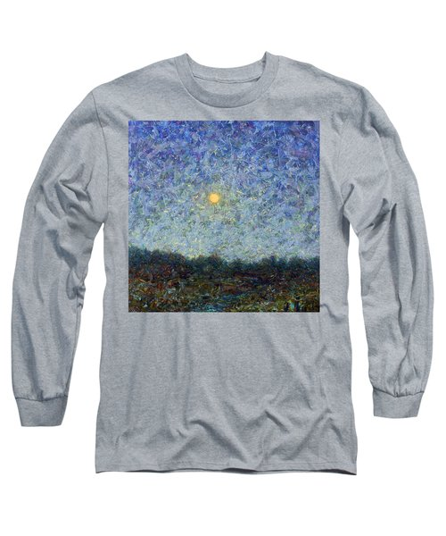 Long Sleeve T-Shirt featuring the painting Cornbread Moon - Square by James W Johnson