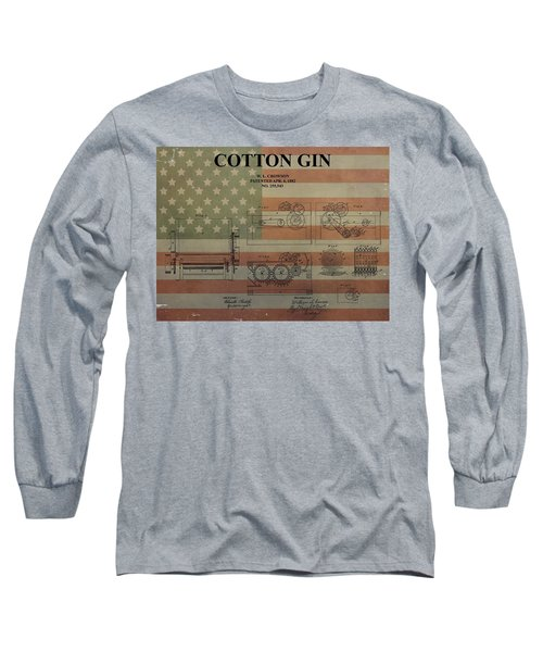Cotton Gin Patent Aged American Flag Long Sleeve T-Shirt