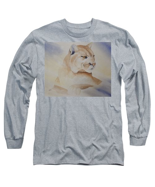 Cougar On Watch Long Sleeve T-Shirt by Richard Faulkner