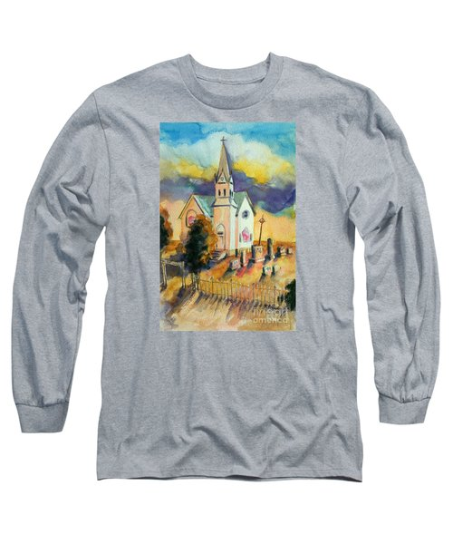 Long Sleeve T-Shirt featuring the painting Country Church At Sunset by Kathy Braud