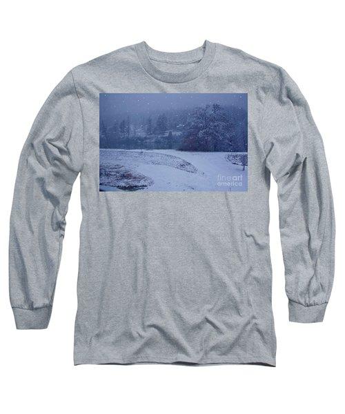 Country Snowstorm Landscape Art Prints Long Sleeve T-Shirt by Valerie Garner
