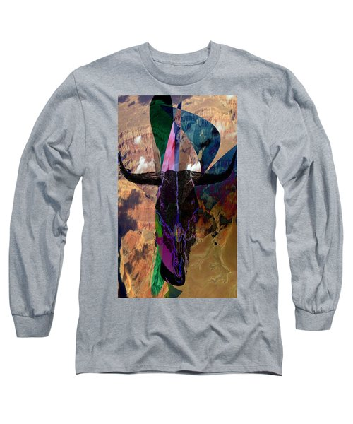 Long Sleeve T-Shirt featuring the digital art Cowskull Over The Canyon by Cathy Anderson